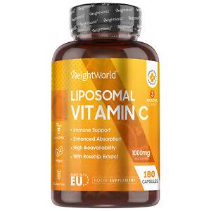Liposomal Vitamin C 180 Vegan Capsules 1000mg Immune System, Tiredness & Fatigue