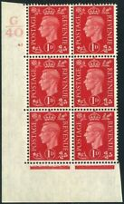 1940 KGVI Dark Colours 1d Scarlet Control G40 Cylinder 45 no dot SG 463