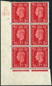 1940 KGVI Dark Colours 1d Scarlet Control G40 Cylinder 45 no dot SG 463