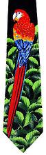 Margaritaville Macaw Mens Necktie Bird Neck Tie Scarlet Parrot Animal Black New