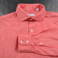 HOWARD YOUNT Red Solid 100% Cotton Mens Luxury Dress Shirt USA - 15.5 x 33