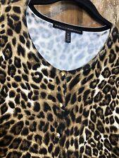 White House Black Market Cardigan Black Brown Leopard Print Snap Front Sz Xl