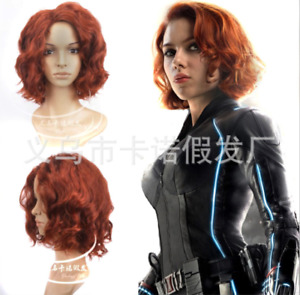Cosplay Avengers Black Widow Wigs Red Wine Curly Wave Wigs Halloween Props New
