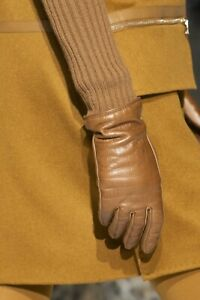 MAX MARA GLOVES POSH DARK BLUE LEATHER SOLD OUT KNIT LONG TIMELESS ACCESSORY !!!