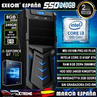 Ordenador Gaming Pc Intel I3 9100F 8GB DDR4 SSD240GB MSI GT710 2GB Windows