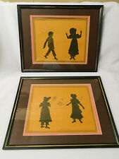 PAIR Vintage Scherenschnitte Silhouette Pictures Framed SHUTTLECOCK JUMPING ROPE