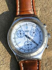 Swatch Irony Chronograph Stainless Steel with Leather Band