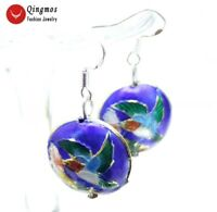 18mm Blue Round Cloisonne Beads Dangle Earrings for Women Jewelry 1.5'' ear511