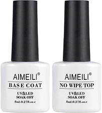AIMEILI No Wipe Top and Base Coat Gel Polish Set 2�8ml Soak Off UV LED Gel Nail