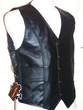 "MENS BLACK LEATHER BRAIDED BIKER WAISTCOAT SIZE 5XL ~ 52"" MOTORCYCLE"