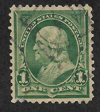 Us #279 (1897) 1c Benjamin Franklin, Green - Used - Thins - Xf