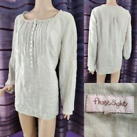 Ladies PHASE EIGHT Blouse Long Sleeve Top 100% Linen Beige Size 16 Brill Cond