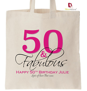 PERSONALISED 50th Birthday Gift Cotton Tote Bag- 50 & Fabulous