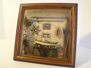 Heritage Mint Fishing Scene Themed Box Framed & Glass Covered Display Used
