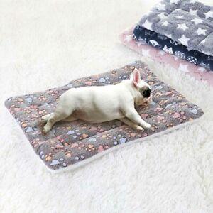 Pet Mat Paw Print Cat Dog Puppy Fleece Mattress Cushion Bed Blanket Warm Soft UK