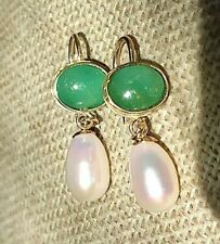Antique VTG Natural 4ct Emerald & pearl solid 9ct gold dangle drop earrings