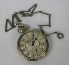 HAMILTON Antique 1920's 14K White Gold Filled Art Deco 17-Jewel Pocket Watch