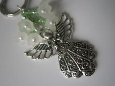 Handmade Silver Fairy / Angel Keyring / Bag Charm with Snowdrops