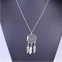 Vintage Women's BOHO Dream Catcher Feather Pendant Chain Necklace Bohemian AC