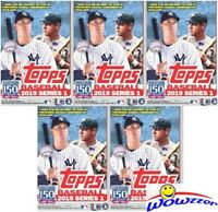 (5) 2019 Topps Series 1 Baseball EXCLUSIVE Blaster Box-FIVE(5) 150th PATCH RELIC