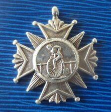 Victorian Unusual Silver Cycling / Penny Farthing Fob Medal  Chorley Sports 1889