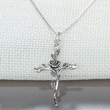 Vintage Style Flower Cross Necklace Pendants Sterling Silver Necklaces Jewelry