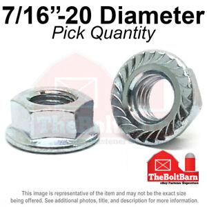 "7/16""-20 Case Hardened Serrated Flange Whiz Lock Nuts Zinc FINE (Pick Quantity)"