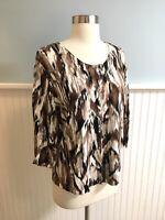 Size Large L J Jill Brown Black White Linen Blend Cardigan Sweater Top Button Up