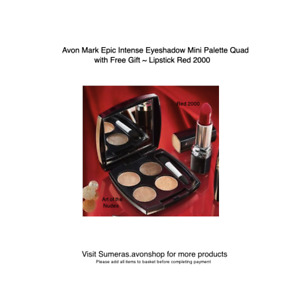 Avon Mark Epic Eyeshadow Quad ~ Art of the Nudes with Free Lipstick Red 2000!!