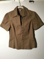Cue Womens Khaki Button Shirt Blouse Top Size 10 Short Sleeve Cotton Good Condt