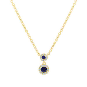 0.19 TCW 14K Yellow Gold Natural Blue Sapphire Diamond Halo Pendant Necklace