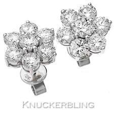 Diamond Daisy Earrings for Pierced Ears 2.80ct F VS set in 18ct White Gold