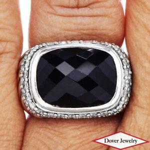 DAVID YURMAN Diamond Black Onyx Sterling Silver Wide Cocktail Ring 14.8 Grams NR