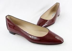 Manolo Blahnik Women's Burgundy Patent Leather Flat Shoe Size 38 8