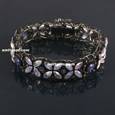 Natural Rainbow Moonstone Tanzanite Pave Diamond 925 Sterling Silver Bracelet 10