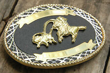 Rodeo Thophy Belt Buckle-Blank-Black & Gold-Calf Roping-Lasso-Cowboy Western