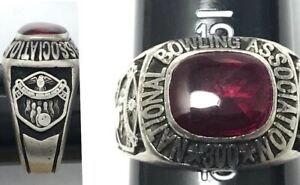 Vintage Oval Red 1939 National Bowling Association 300 Sterling Silver Size 12