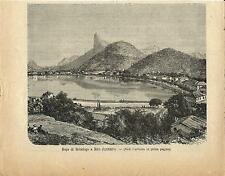 Stampa antica RIO de JANEIRO Botafogo BRASILE Brazil 1894 Old antique print