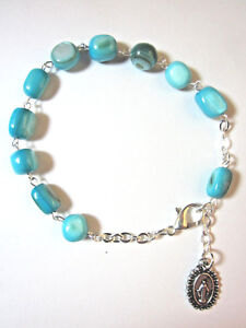 Our Lady of Grace Rosary Bracelet BLUE RIVER STONE Beads Miraculous Medal Italy