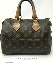 Authentic LOUIS VUITTON Speedy 25 Monogram Canvas Handbag Satchel with COA