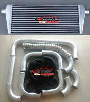 235X550X45mm ALUMINUM UNIVERSALTURBO INTERCOOLER+51mm PIPING+Black hose+Clamps