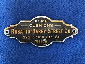 Old Brass Rosatto Barry Street Co Philadelphia Pa Pool Table Sign Nameplate