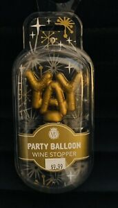 Yay Party Balloon Gold Tone Tapered Resin Stone and Zinc Wine Bottle Stopper