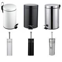 STAINLESS STEEL BATHROOM TOILET BRUSH HOLDER + 3LTR PEDAL BIN SET BLACK / WHITE