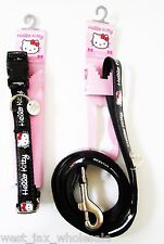 HELLO KITTY Discontinued Pet Black Adjustable Leash Collar MEDIUM Dogs Lot of 2