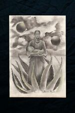 Frida Kahlo drawing on paper, vintage, rare,