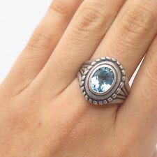 925 Sterling Silver Real Blue Topaz Gemstone Handmade Ring Size 8 3/4