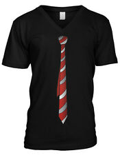 Red White Striped Fake Tie Shirt Funny Humor Suit Up Classy Mens V-neck T-shirt