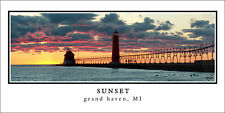 Sunset Poster Panorama Grand Haven Lighthouse Panoramic Fine Art Print 10x20