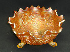 ANTIQUE MASSIVE FENTON RUFFLED CARNIVAL GLASS FOOTED BOWL CENTERPIECE